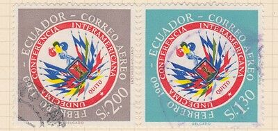 ECUADOR - 2 Stamps as shown - Hinged on paper