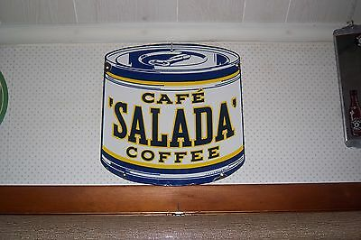 Vtg 1945 SALADA COFFEE Keywind Can PORCELAIN Advertising Sign Authentic