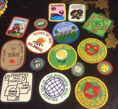 12 Old Girl Scout Patches Badges Lot 1980's Cookies Conference Day Camp Merit