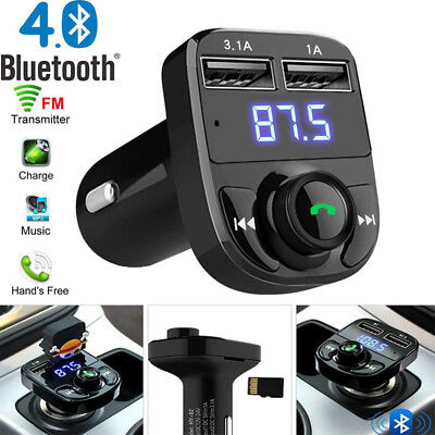 Wireless Bluetooth4.0 FM Transmitter Dual USB Charger Car Kit LCD TF MP3 Adapter