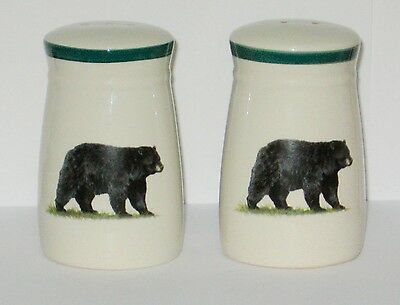 Hand Decorated by Angler's Expressions Bear Design Salt &  Pepper.Shakers.