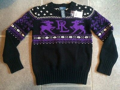 Youth POLO Ralph Lauren Christmas Reindeer Snowflake Sweater Size 8 NEW
