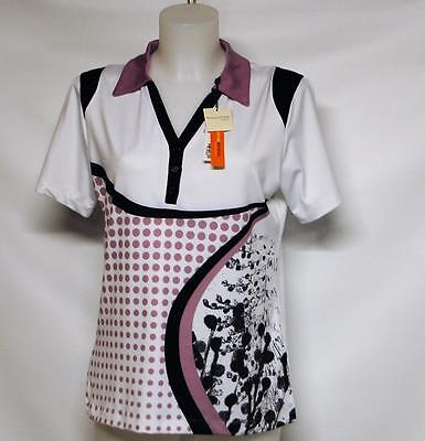 New Ladies Spanner Inspired Bloom Style Golf short sleeve polo shirt top MEDIUM