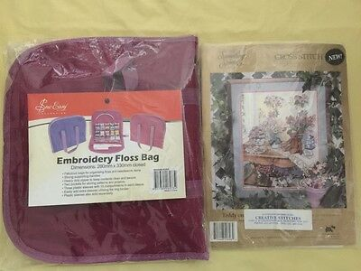 Embroidery floss bag and cross stitch bear new needlepoint sewing craft
