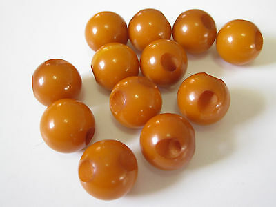 "Lot / Set of 12 Vintage Butterscotch Bakelite 1/2"" Ball Buttons - Tested"