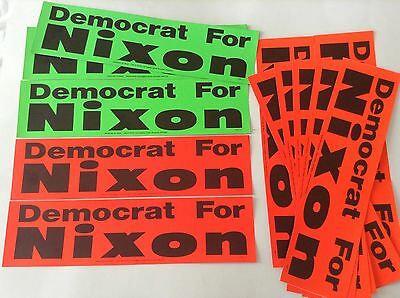 """""""democrat For Nixon"""" Bumper Stickers *12 Pack* Red & Green Vintage 1968 Election"""