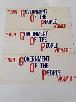 """""""join Government Of The People Women"""" Gop Bumper Sticker *3 Pack* Vintage Rare"""