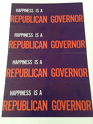 """""""happiness Is A Republican Governor"""" 4 Pack Bumper Stickers *vintage Gop *rare"""