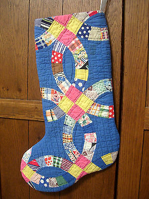 STOCKING from 1920s QUILT~DOUBLE WEDDING RING~SWEETEST NOVELTY PRINTS on BLUE~