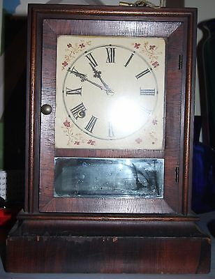 Antique Waterbury Clock Co. 8 Day 30 Hour Wooden Mantle Clock - Works