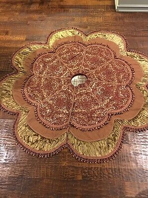 Horchow Christmas Tree Skirt - Red/burgundy And Gold - Silk & Tassels