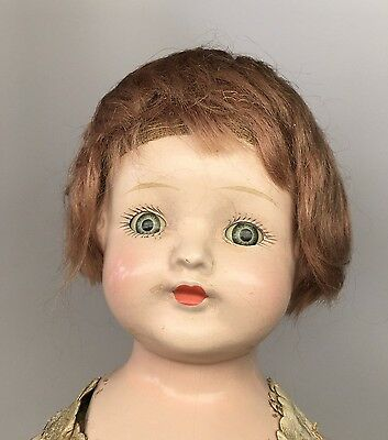 "ACME TOY MFG Composition Head 16"" Doll Sleep Eyes Bisque Arms Kid Leather Body"
