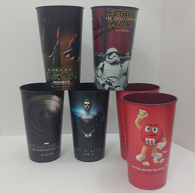 Movie Collectible Jumbo Cups lot of 6 Star Wars, Superman, Capt America & more