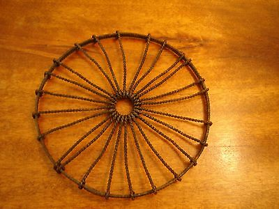 Antique Early American Hand Made Wheel Form Twisted Wire Hot Plate Trivet 6 Inch