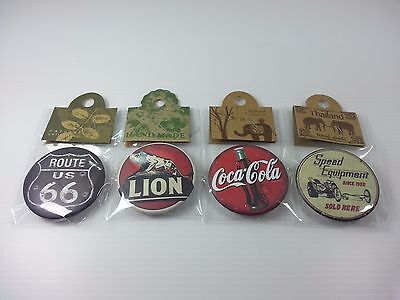 4 PC Cute VTG Logo Advertising Sign Circle Plastic Screen Brooch Collection Set