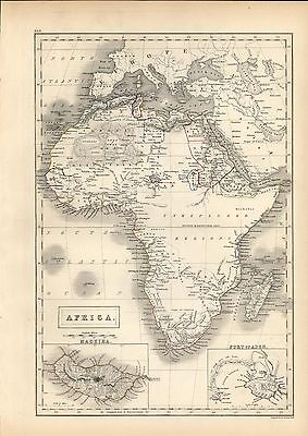 Africa Madeira island Port of Aden insets uncommon 1844 antique engraved map