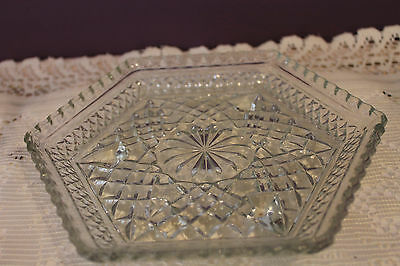 Anchor Hocking Depression Wexford Glass Footed Hexagon Tray