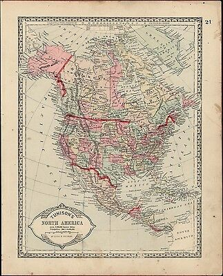 North America United States 1892 antique map hand colored decorative frameable