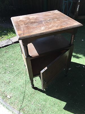 Wooden Antique Looking Side Table With Cupboar