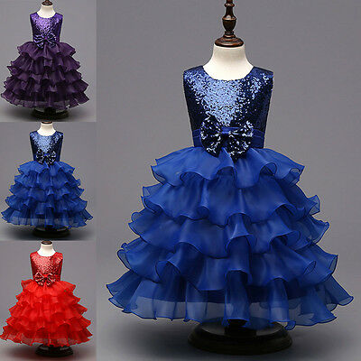 Flower Girls Sequins Bows Princess Dress Wedding Bridesmaid Party Formal Gown