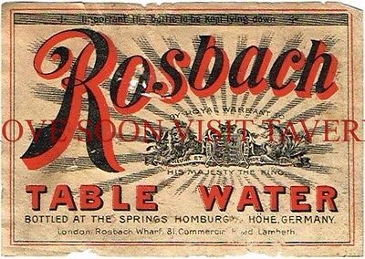 1900s Germany Homburg Rosbach Water Label Stephens Collection Tavern Trove