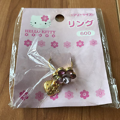 Nwt Sanrio Hello Kitty Gold Color Flower Design Ring Collector Item