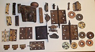 Large Lot of Vintage Antique Door and Window Hardware. Several Pieces