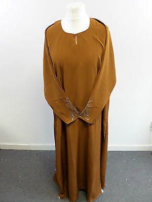 Womens Abaya Brown Jilbab Islamic/Arabic Long Dress Size XLarge Box2402 L
