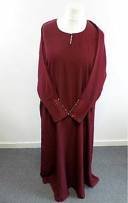 Womens Abaya Dark Red Jilbab Islamic/Arabic Long Dress Size Large Box2404 K