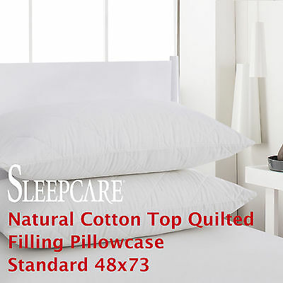 2X 100% Cotton Quilted Filling Pillowcase Cover Pillow Protector Standard 48x73