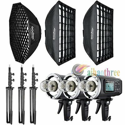 3Pcs Godox AD600BM 3x600W HSS 1/8000s Studio Flash Light Kit Bowens Mount【AU】