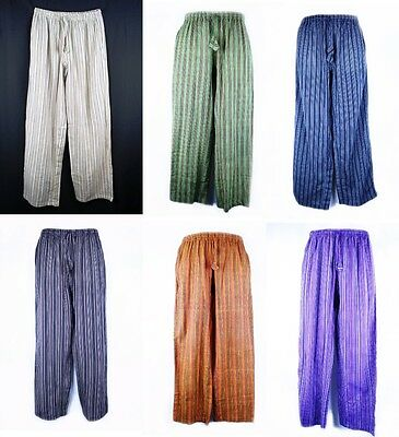100% Cotton Striped Indian Elastic Waist Pants Casual, Hippy, Boho, Meditation