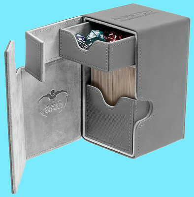 ULTIMATE GUARD FLIP n TRAY GREY 80+ CASE XENOSKIN Standard Size Game Card Box