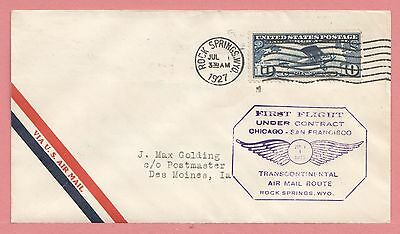 1927 First Flight Airmail Cover Rock Springs Wy To Ia Cam 18 Aamc 18E6