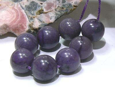 8 RARE 100% NATURAL UNTREATED AFRICAN GEMMY PURPLE SUGILITE ROUND BEADS 10mm