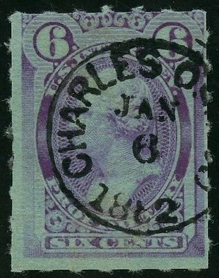 #RB18c 6¢ VIOLET ROULETTED 6 SOUND USED WITH NICE CANCEL CV $2,000 WLM2403