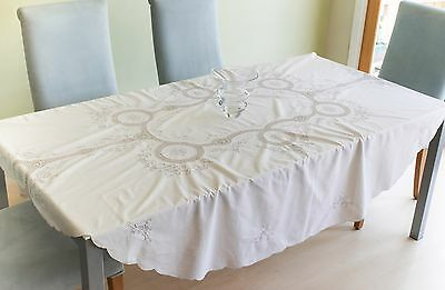 Vintage Oval Embroidered & Crochet Tablecloth.
