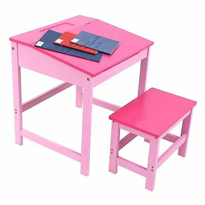 Children's School Study Desk and Stool, MDF Pink (ideal for a girls room)