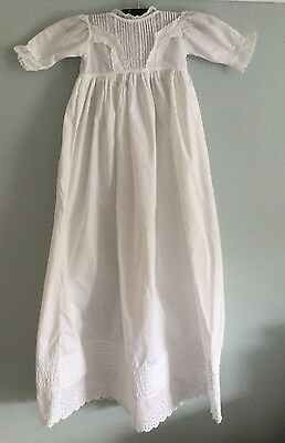 Antique Victorian baby / doll's extra long Christening dress - white cotton [d3]