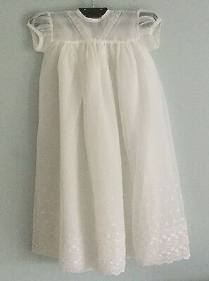 Vintage baby / doll's Happitots Christening or party dress - white nylon