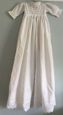 Antique Victorian baby / doll's extra long Christening dress - white cotton [d1]