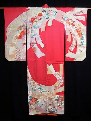 Vintage Japanese Girl's/Petite Ladies' Pink Floral Silk Mix Furisode/Kimono/Robe