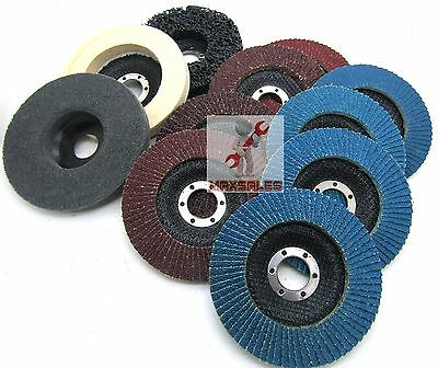 "New 11pc 4-1/2"" x 7/8"" Flap Disc & Polish Set Strapping Sponge Aluminum Zirconia"