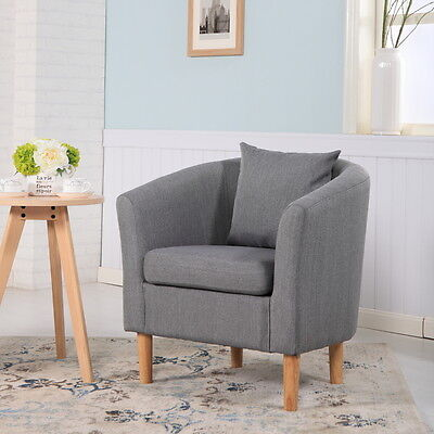 Deluxe Fabric Tub Chair Armchair Dining Living Room Office Hotel - Dark Grey