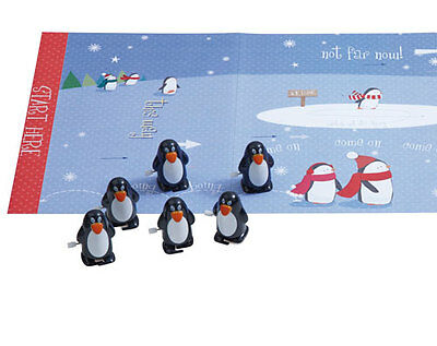 6 Race To The North Pole Christmas Crackers With Wind-Up Penguins - Brand New
