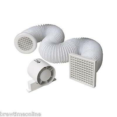 "4"" Inline Extractor Fan with Timer - Full Kit - Ventilation for Bathroom/Shower"