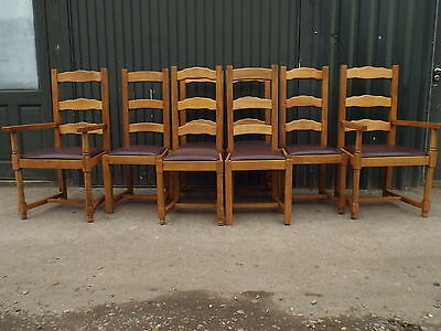 Set of Eight 8 Solid Golden Oak Dining Chairs