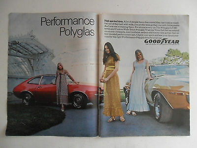 1971 Print Ad Goodyear Racing Tires ~ Ford Pinto Performance Polyglas Spirited