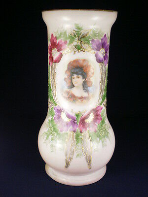 Vintage Young Lady & Flowers Large Glass Vase (Repair)