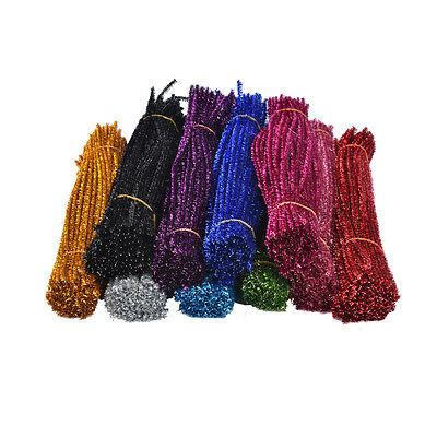 100Pcs Coloured Glitter Chenille Stems Pipe Sticks Cleaners For Art DIY Crafts J